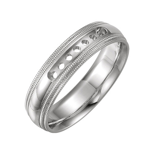 Td123864w 14k White Gold Double Milgrain 4mm Comfort Fit: Stuller 14k White Gold Half Round Comfort Fit Double
