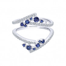 Gabriel & Co 14k White Gold Diamond & Sapphire Jacket Anniversary Band