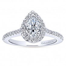 Gabriel & Co 14k White Gold Pear Shape Halo Engagement Ring