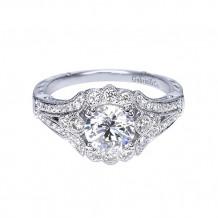 Gabriel & Co Platinum Halo Diamond Engagement Ring