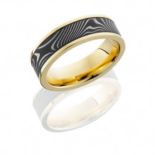 Lashbrook 18k Yellow Gold and Damascus Inlay Wedding Band