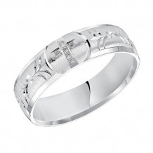 Goldman 14k White Gold Men's Diamond Wedding Band