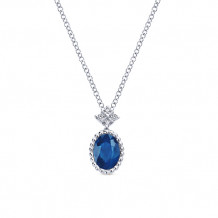 Gabriel & Co. 14k White Gold Oval Shaped Blue Sapphire Pendant