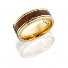 Lashbrook 14k Yellow Gold with Desert Ironwood Inlay Wedding Band