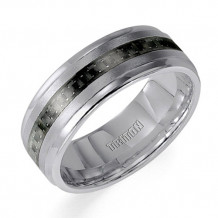 Goldman White Tungsten Carbide Men's 8mm Wedding Band