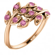 14k Rose Gold Stuller Pink Topaz Leaf Ring