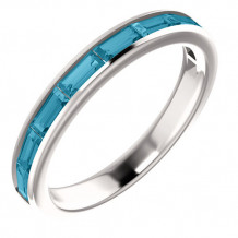 14k White Gold Stuller Blue Topaz Stackable Ring