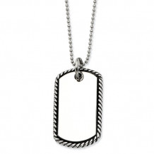 Chisel Stainless Steel Twisted Rope Edge Dog Tag Pendant Necklace
