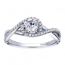 Gabriel & Co 14k White Gold Round Criss Cross Engagement Ring