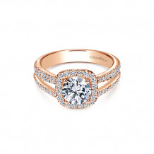 Gabriel & Co 14k Rose Gold Halo Diamond Engagement Ring