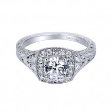 Gabriel & Co Platinum Halo Diamond Engagement Ring