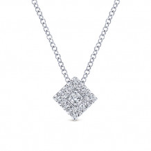 Gabriel & Co. 14k White Gold Square Shape Diamond Pendant