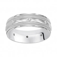 Goldman 14k White Gold 4mm Bead-set Diamond Wedding Band