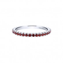 Gabriel & Co. 14k White Gold Garnet Stackable Diamond Ring