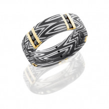 Lashbrook Damascus Steel and 14k Yellow Gold With Black Diamond Wedding Band