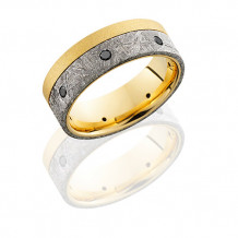 Lashbrook 18k Yellow Gold, Meteorite and Black Diamond Wedding Band