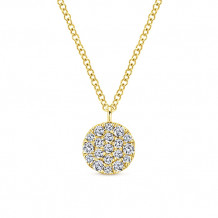 Gabriel & Co. 14k Yellow Gold Round Pave Diamond Pendant