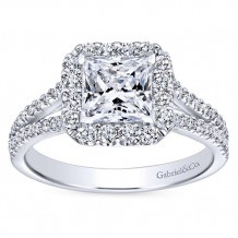 Gabriel & Co 14k White Gold Princess Cut Halo Engagement Ring