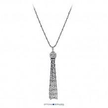 "Sterling Silver with Black Rhodium Officina Bernardi Comet 30"" Necklace"