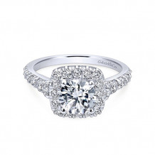 Gabriel & Co 14k White Gold Round Halo Semi Mount Engagement Ring