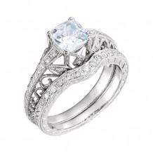 Stuller 14k White Gold Round Diamond Semi-mounting Hand-Engraved Engagement Ring