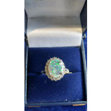 Sullivan's Estate Jewelry Black Opal White Gold Ring