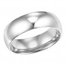 Goldman 14k White Gold Men's 7mm High Polished Wedding Band
