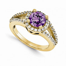 Quality Gold 14K Yellow Gold & Diamond Semi-Mount Gemstone Ring