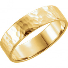 Stuller 14k Yellow Gold Gold Hammer Finish Flat Wedding Wedding Band