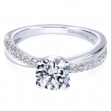Gabriel & Co. 14k White Gold Round Twisted Engagement Ring