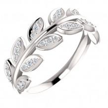 Stuller 14k White Gold 1/4ct Diamond Leaf Fashion Ring