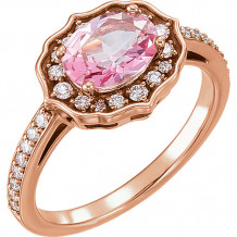 14k Rose Gold Stuller 1/3ct Diamond and Pink Topaz Ring