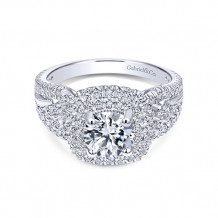 Gabriel & Co 14k White Gold Double Halo Diamond Engagement Ring
