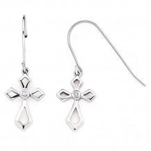 Ostbye Sterling Silver Diva Diamonds Cross Earrings