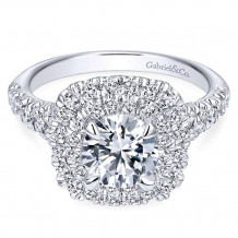 Gabriel & Co.14k White Gold Round Double Halo Engagement Ring