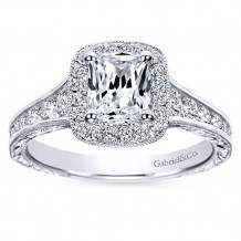 Gabriel & Co 14k White Gold Cushion Cut Halo Engagement Ring