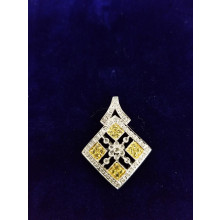 Sullivan's Estate Jewelry 14Kt White Gold Pendant with Round Cut White and Yellow Diamonds