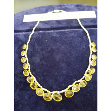 Sullivan's Estate Jewelry Citrine and Seed Pearl Necklace
