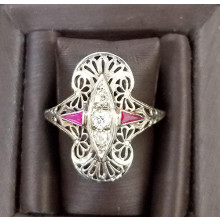 Sullivan's Estate Jewelry 18Kt White Gold Ring with Diamonds and Arrow Cut Rubies