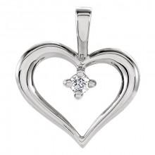 Stuller Sterling Silver Diamond Heart Pendant
