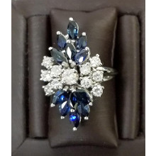 Sullivan's Estate Jewelry 14Kt White Gold Cluster Ring with Sapphire and Diamond